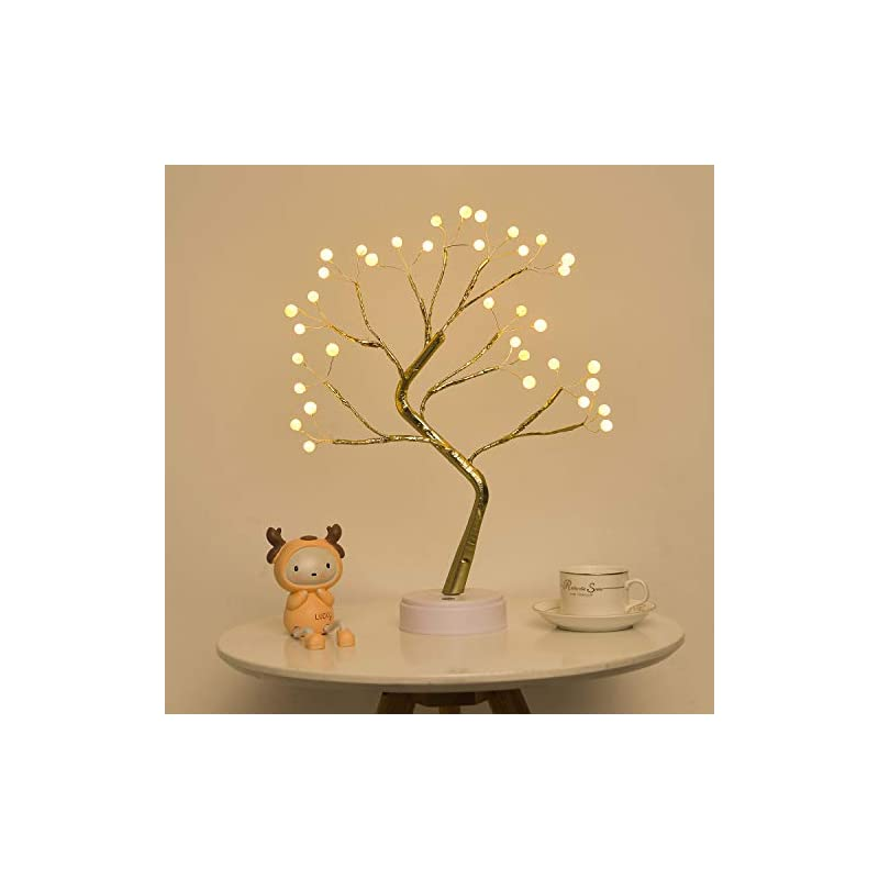 silk flower arrangements extrafein artificial bonsai tree lights - table decor pearl tree fairy lamp, battery/usb operated, lit tree centerpieces for jewelry holder,christmas festival decoraction,mini night light