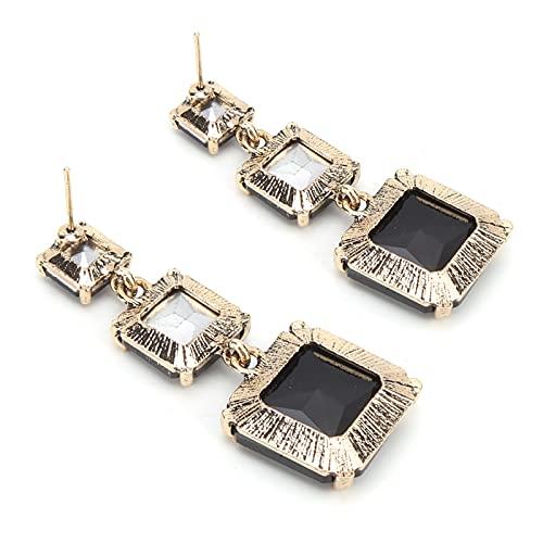 Fydun Pendiente Cuadrado, Accesorios geométricos de los Colgantes del oído de la aleación del Modelo para Las Mujeres de Las Muchachas(Negro)