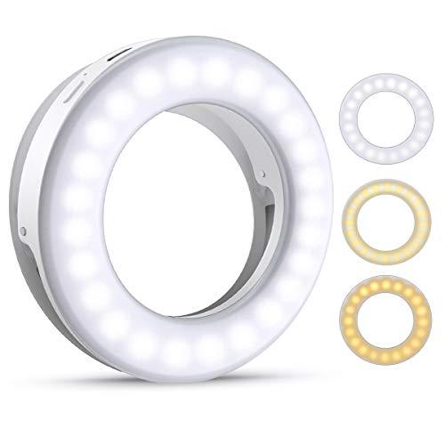 Criacr Selfie Licht, Selfie Licht Handy, Ringlicht Handy, 40 LED Ringleuchte mit 3 Stuff Helligkeit, USB Wiederaufladbar Selfie Ring Licht für Alle Handy/Tablet und Fotos