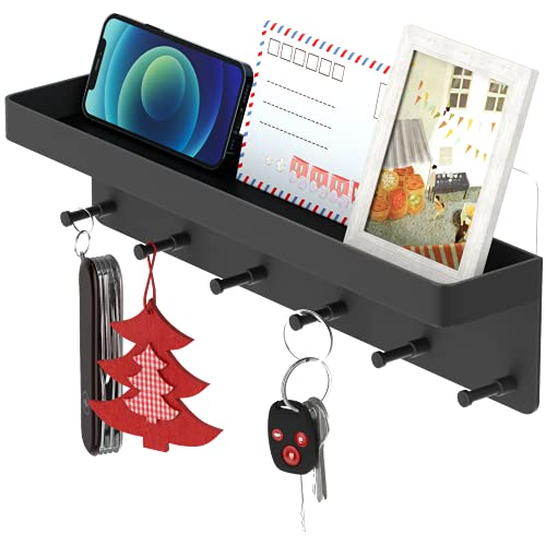 Schlüsselbrett Vintage/ schlüsselhaken/Schlüsselregal / Hakenleiste mit Ablage, 6 haken selbstklebend , schlüssel aufbewahrungaus Edelstahl als Schlüsselboard , Briefablage, ,Schlüsselhalter