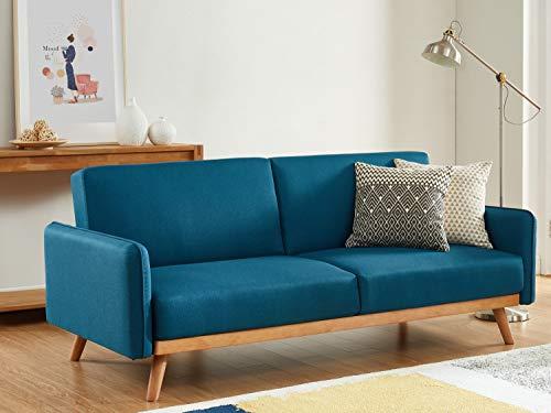HOMIFAB Canapé scandinave 3 Places Convertible en Tissu Bleu avec Couchage 113x190cm - Collection Theo