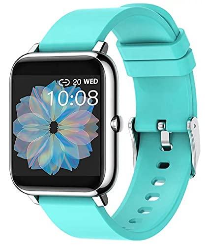 Smartwatch P22 Fitness Tracker Uhr Armbanduhr Schrittzähler Pulsuhr Wasserdicht IP67Stoppuhr SMS-Anruf Damen Herren für IOS 9.0 Android 5.0 Handy (Türkis)