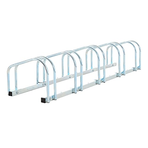 HOMCOM Bike Stand Parking Rack Floor or Wall Mount Bicycle Cycle Storage Locking Stand (5 Racks)