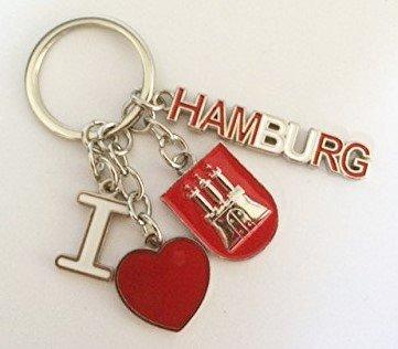 Schlüsselanhänger I love Hamburg Wappen Herz Mitbringsel Deko Souvenir …