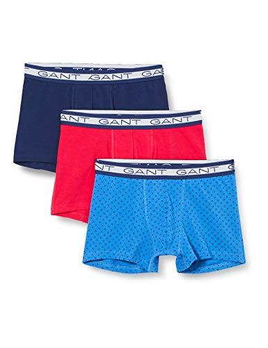 GANT Herren 3-Pack Basic Trunk Polka DOT Boxershorts, Strong Blue, L