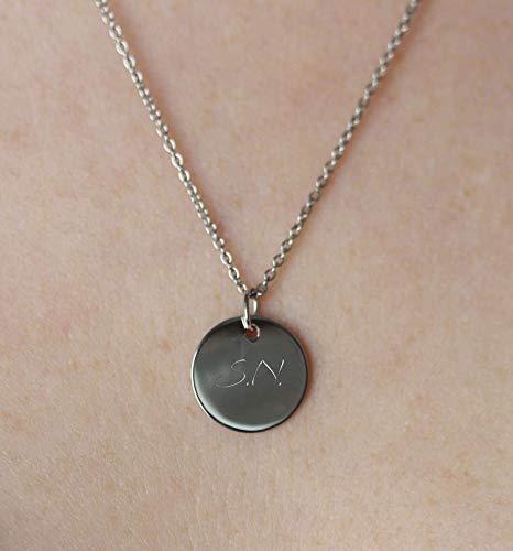 SCHOSCHON Damen Kette und runder Anhäger mit personalisierter Gravur 925 Silber 50 cm // Geschenkideen Plättchen Gravurplatte Personalisierbar