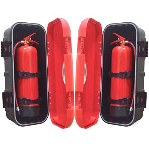 Easy Link 2 x Feuerlöscherbox, Feuerlöscher Schutzbox, Sichtfenster, abschließbar Kasten, LKW, PKW, 6 kg
