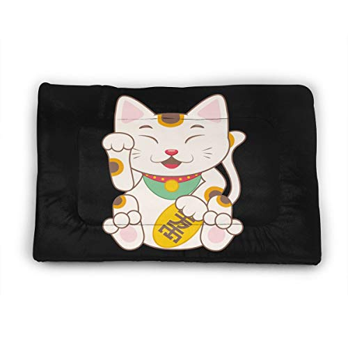 Futurope Japan Lucky Cat Large Pet (Dog/Cat) Bed Mat Soft Crate Pad with Anti-Slip Bottom Machine Washable Pet Cushion for Dog/Cat Sleeping