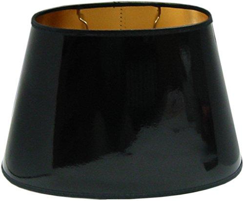 Tisch-Lampenschirm *oval*, schwarz Lack, Seidenglanz , innen gold seidenglänzend, Du=35 /Do=23/H=22,5cm Befestigung unten E27 (optional lieferbar Reduzierring auf E14)