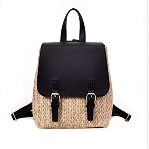 JNML geweven rotan rugzak dames casual reizen strandtas schooltassen dames stro lederen tas nieuwe soild kleur, als fotoshow