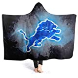 VF Blanket Hoodie Soft Cloak Shawl Wrap Detroit Lions Hooded Blanket Throw Wearable Cuddle for Adult and Kids 80'X60'
