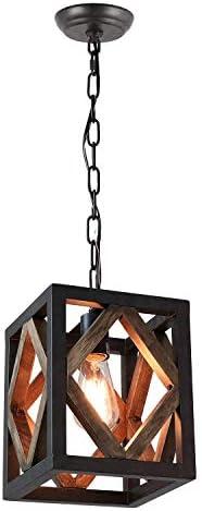 Eumyviv 1 Light Metal Frame Wood Farmhouse Kitchen Pendant Light 7 8 L Industrial Rustic Chandelier product image