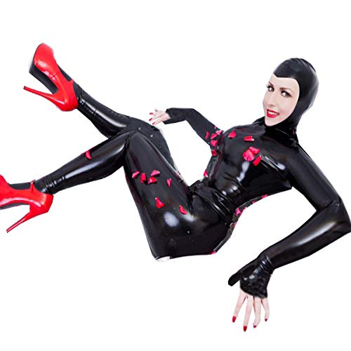 FASHION QUEEN Women Sexy Boycon Catsuit Plus Size Bodysuit with Gloves and Stocking (5XL, Black)