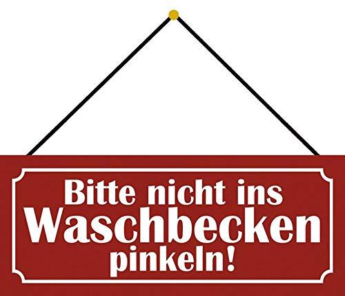 NWFS Gelieve niet in de wastafel roze metalen bord bord bord Metal Tin Sign gewelfd gelakt 10 x 27 cm met koord
