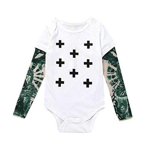 HULKY Bébé Garçon Fille Tatouage Imprimé À Manches Longues Patchwork Coton Barboteuses Combinaison Toddler Stitch Costume Coton T-Shirt Maille Tatouage Manches Longues Tops À 0-6 Ans