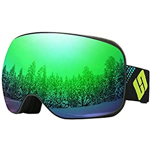 SH HORVATH Ski Snowboard Goggles Magnetic Lens Super Anti-Fog UV Protection Mirrored Lenses Windproof Scratch-Resistant Coated Inner Lens with Quick Change Lens System for Men Women Youth