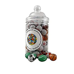 300g spiral jar of individually wrapped chocolate sports balls 300g Straight Sided Jar of Individually Wrapped Chocolate Sports Balls 4173CFRNaFL