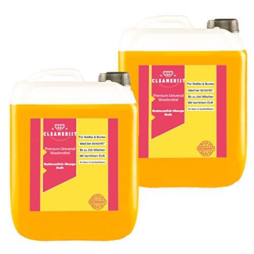 Cleanerist Flüssigwaschmittel Premium Waschmittel mit Mango-Buttermilch-Duft | 2x10 Liter Vollwaschmittel Grosspackung | bis zu 440 Waschladungen color weiß schwarz