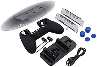 5-in-1 game kit for ps4 series, Dual Charging Dock, Vetical Stand ,Headphones,Controller Silicon Case and Thumbstick Cover