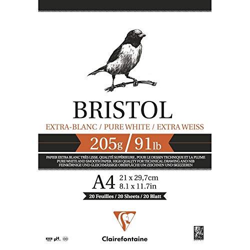 Clairefontaine 96172C Bristolkarton Block, Din A3, 29.7 x 42 cm, 205 g, 20 Blatt Packung, weiß