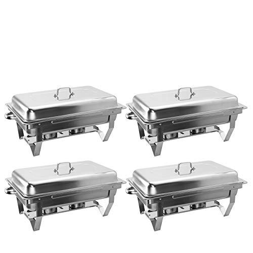 Z ZELUS Scaldavivande in Acciaio Inox 4 Pezzi Contenitore Vassoio di Riscaldamento 9L Pentole di Riscaldamento Chafing Dish per Buffet di Catering e Feste
