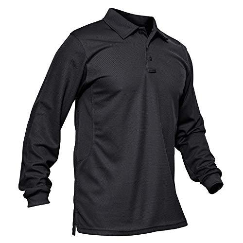 MAGCOMSEN T Shirts for Men Long Sleeve Polo Shirts for Men Golf Shirts Dad Shirt Work Shirts Mens Casual Shirts Fishing Shirts for Men Black