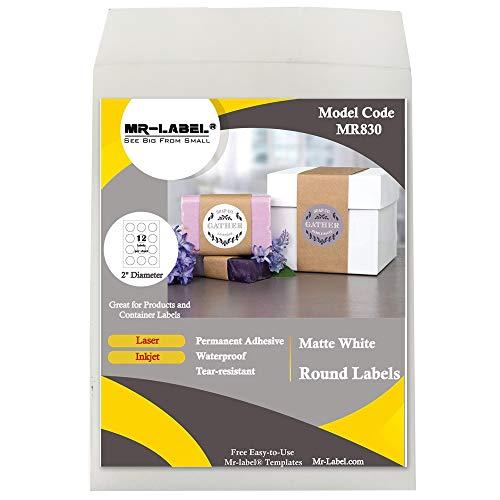 """Mr-Label 2"""" Round White Sticker Label - Waterproof and Tear-Resistant - for Inkjet & Laser Printer - for Food Package   Bottle   Jar   Envelope (25 Sheets Total 300 Labels)"""