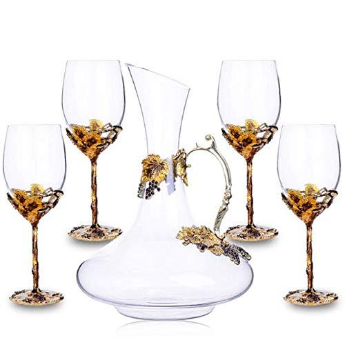 YSYDE Europäische Retro Weingläser Set, Weingläser 5 Set, Kristall Weingläser, feierliche Vintage elegant und luxuriös, Dieses Weingläser Set Braut und Bräutigam