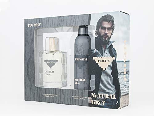 Privata - Natural Grey Estuche de Regalo para Hombre, Eau de Toilette 75 ml y Desodorante en Spray 200 ml