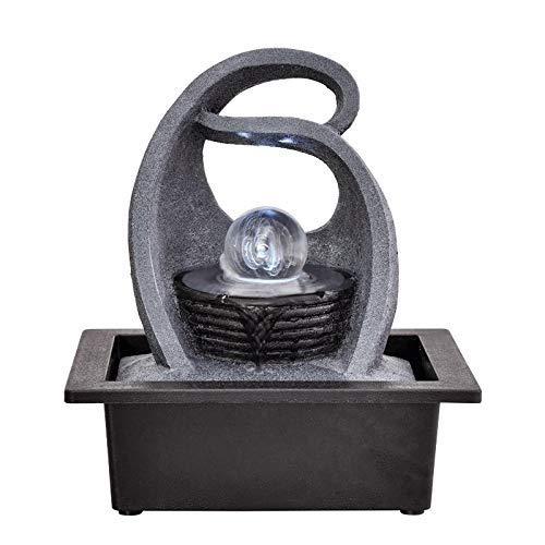 ZLBYB Dekoration Skulptur, Innen Entspannung Springbrunnen, Beleuchtet Wasserfall, Automatische Pumpe (Farbe: Grau, Größe: 26 * 23 * 17,5 cm)