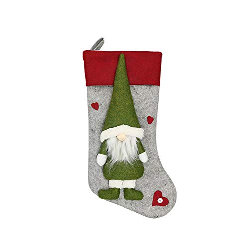 KissHouse Weihnachtsschmuck Faceless Puppe Weihnachten Socken Geschenkbeutel Socken, Weihnachtsbaum, Dekoration Schwedische Weihnachts GNOME-Anhänger Ist Haltbar Und Nützlich (Color : Green)