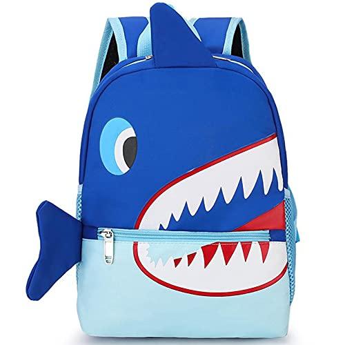 WQA Mochila Infantiles Estampada Mochilas de la Escuela para niños, Bolsas Escolares Primaria, Niño Niña Casual Viaje Estuche Escolar Blue Shark-OneSize