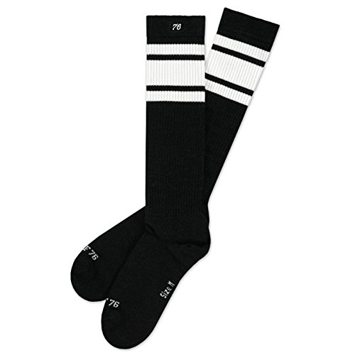 Spirit of 76 Tarmac Hi | Hohe Retro Socken mit Streifen Schwarz, Weiß gestreift | kniehoch | stylische Unisex Kniestrümpfe Größe L (43-46)