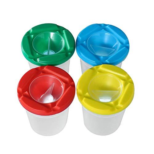 SUPVOX 10 Stücke Malbecher Pinselbecher mit Auslaufschutz Deckel (Zufällige Farbe)