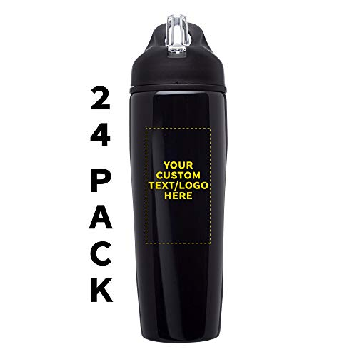 Custom Stainless Steel Water Bottle, 24 pack, Personalized Text, Logo, 28.5 oz Metal Sports Bottles with Flip Top, Easy Carrying, Black