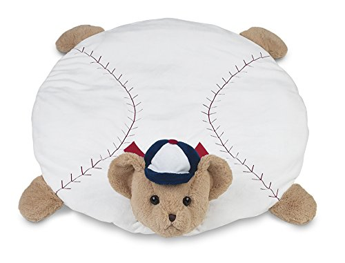 Bearington Baby Lil' Slugger Belly Blanket, Baseball Teddy Plush Stuffed Animal Tummy Time Play Mat