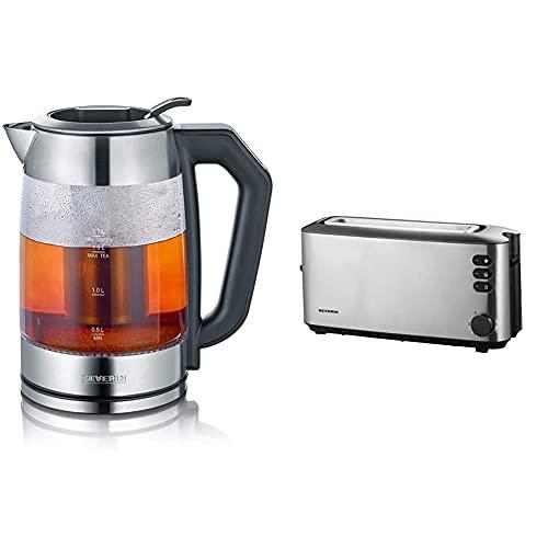 SEVERIN Digital Glas-Tee-/Wasserkocher, Mit Temperaturregler, Für 1,7 L Wasser/1,5 L Tee, Edelstahl/Schwarz & AT 2515 Automatik-Toaster (1.000 W, 1 Langschlitzkammer) edelstahl/schwarz