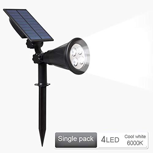 NZHK Luz Solar Al Aire Libre, Paisaje Solar Focos IP65 Resistente Al Agua Auto on/Off 2-En-1 Ajustable 4 LED De Iluminación De La Decoración Muro De Seguridad,Blanco