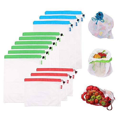 Hyshina Bolsas reutilizables de malla de producción Bolsas lavables para almacenaje de tiendas de comestibles, frutas, vegetales y juguetes costuras dobles, resistentes, con etiquetas que indican el peso y en varios tamaños (juego de 12 PCS)