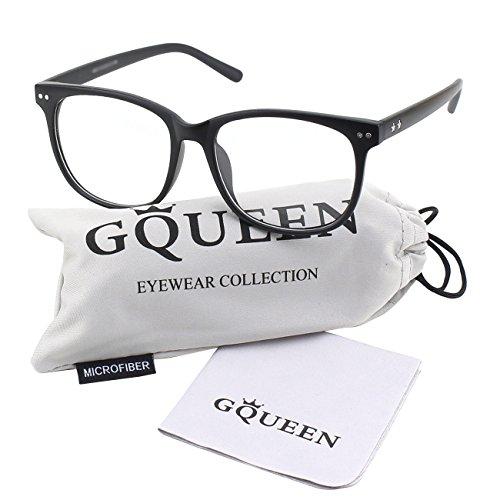 GQUEEN Großer Hornbrille Brille Ohne Stärke Fake Brille Nerdbrille Damen Herren PE1