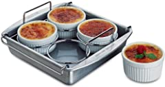 """SET INCLUDES EVERYTHING YOU NEED: This set includes four 6-ounce porcelain ramekins, 8"""" square pan, and interior rack that keeps ramekins in place. DURABLE AND STRONG: The Chicago Metallic Crème Brûlée 6-Piece Set is made from heavy-weight aluminized..."""