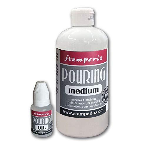 Stamperia Medium trasparente all'acqua per fluidifcare i colori acrilici per ottenere effetti particolari. Barattolo da 500 ml KE45