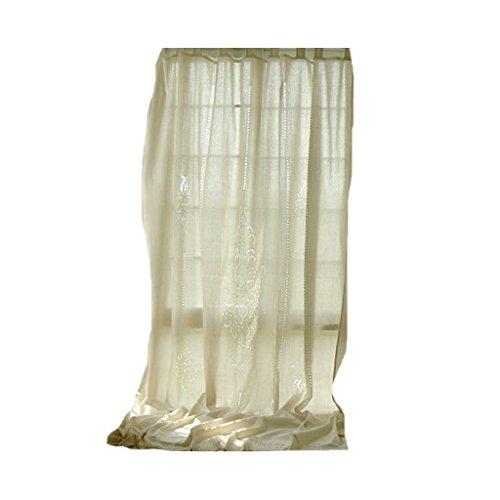 Générique Lot de 1 Rideau de Fenêtre Lin Dentelle à Carreaux Panneau Occultant Champêtre - Beige, 180x255cm