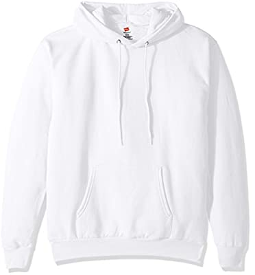 Hanes Men's Pullover EcoSmart Fleece Hooded Sweatshirt, White, Small by Hanes Branded Printwear