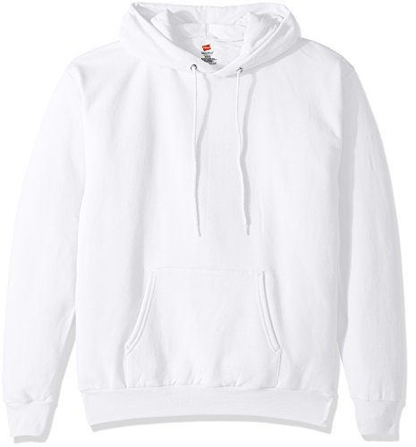 Hanes Men's Pullover Ecosmart Fleece Hooded Sweatshirt, white, Large