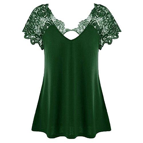 Auifor damesmode V-hals plus size kant korte mouwen trim cutwork T-shirt tops