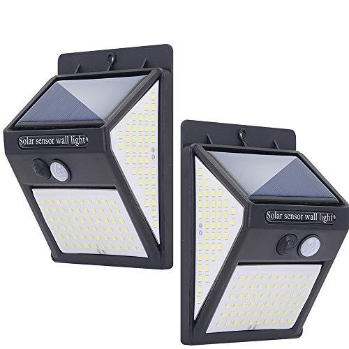 Solarleuchten für Außen 140 LED - 2 Stück Solar Bewegungsmelder Sicherheitsleuchten mit 300 ° Weitwinkel 2000mAh IP65 Wasserdichte Solar Wandleuchte Led Solarlampen(Schwarz)