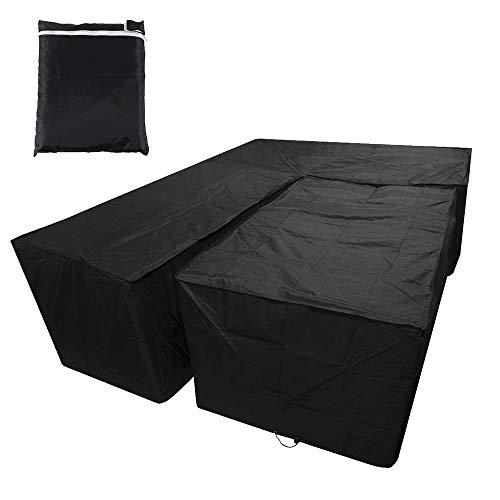 You's Auto Juego de Forma de L de Funda Protectora para El SofÁ De La Esquina Muebles para Mesa De Jardin Exterior Impermeable Anti-UV (Negro 215X215X87cm+155x95x68cm)