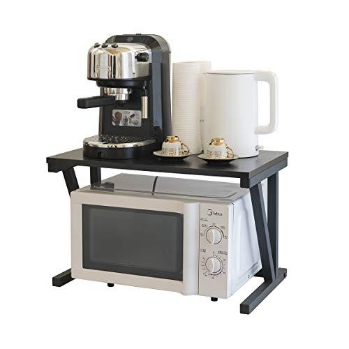 2 Capas de Hierro y Acero Leñoso del Sostén de la mesa de Cocina Para Horno de Microondas y Aprador y Estante de Impresa