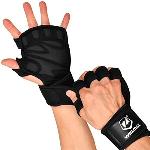 WIN.MAX Fitness Handschuhe, Trainingshandschuhe für Damen und Herren mit Handgelenkstütze und Palm Schutz, Atmungsaktive rutschfeste Gewichtheben Handschuhe zum Klimmzug, Kraftsport XL